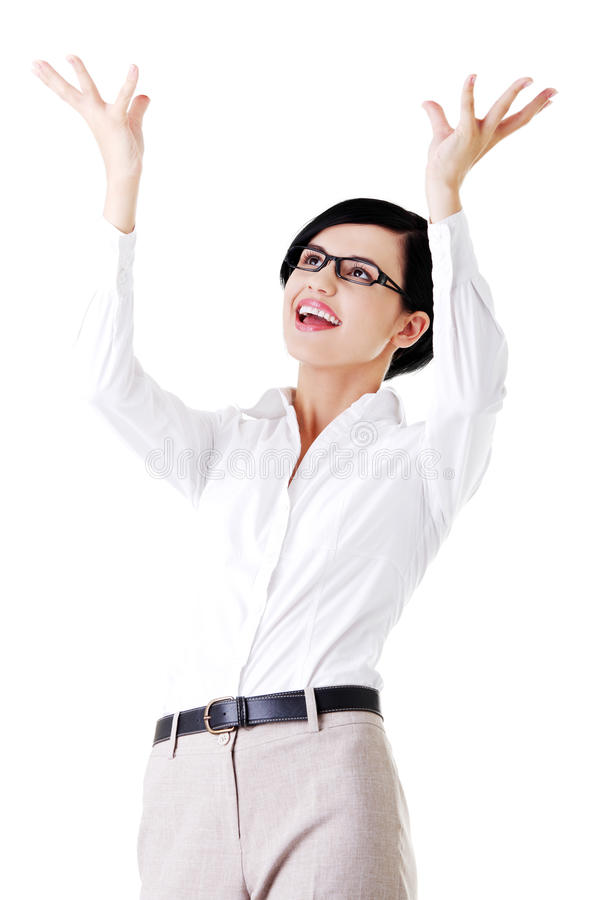 Download Happy Girl With Raised Hands. Stock Photo - Image: 27729620
