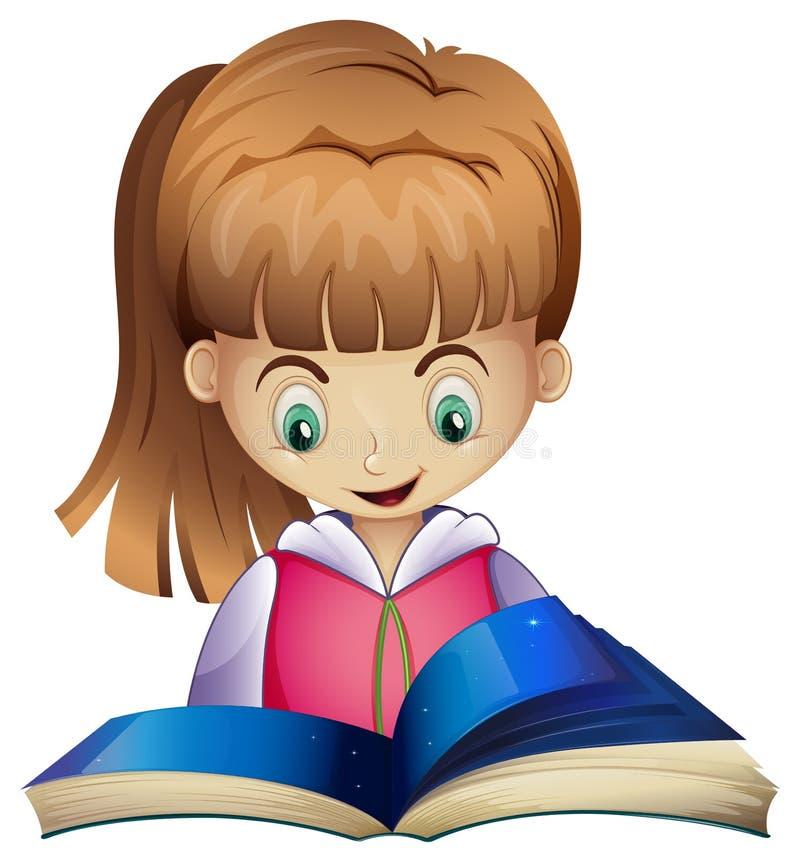 Happy girl reading book royalty free illustration