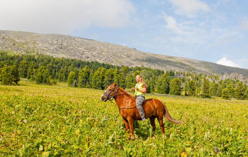 Happy girl riding a horse stock photography