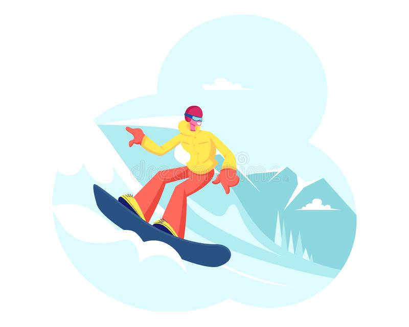 Happy Girl Riding Snowboard by Snow Slopes during Winter Time Season Holidays. Sportswoman Having Fun on Ski Resort royalty free illustration