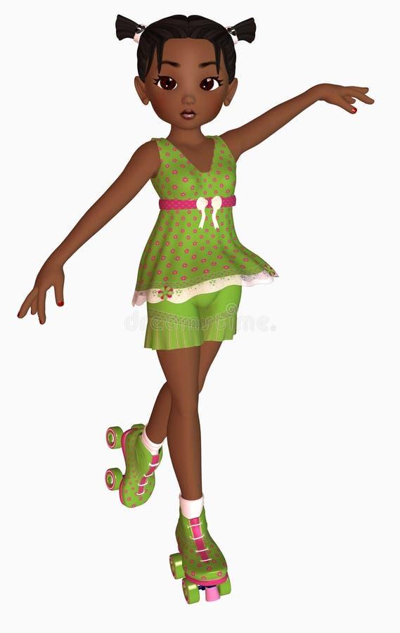 Download Happy girl on rollerskates stock illustration. Image of outside - 5613417