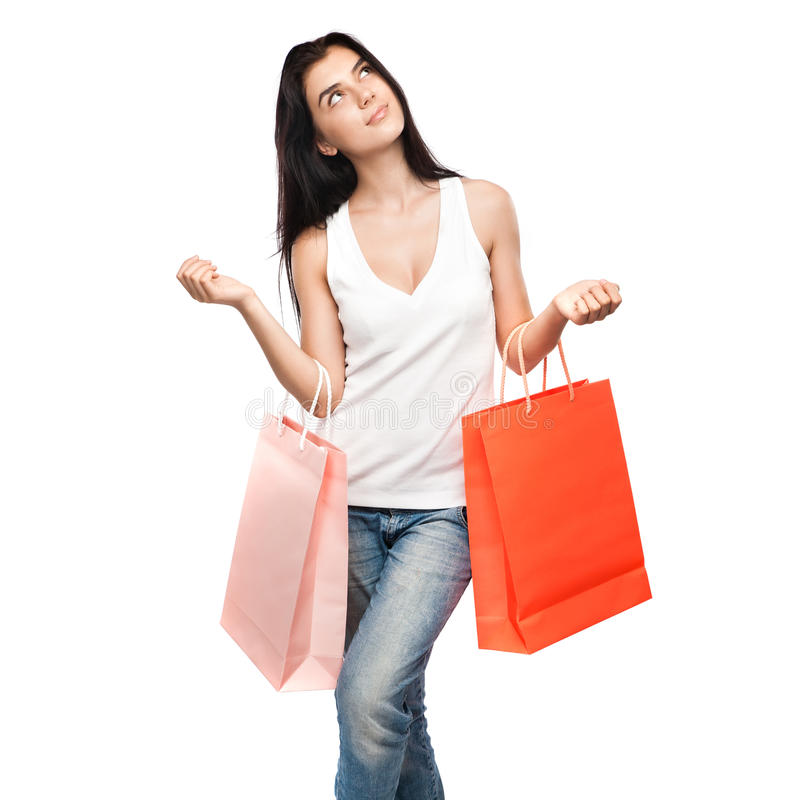 Download Happy Girl With Shopping Bags Stock Photo - Image: 25272700