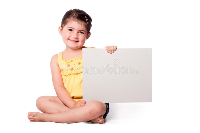 Happy girl sitting with whiteboard stock photos