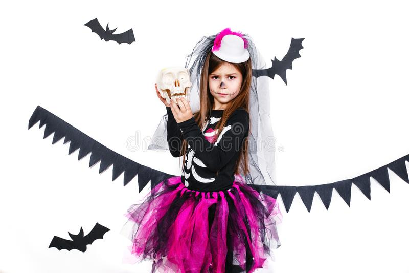 Download Happy Girl In A Skeleton Costume Having Fun Stock Image - Image of female  sc 1 st  Dreamstime.com & Happy Girl In A Skeleton Costume Having Fun Stock Image - Image of ...