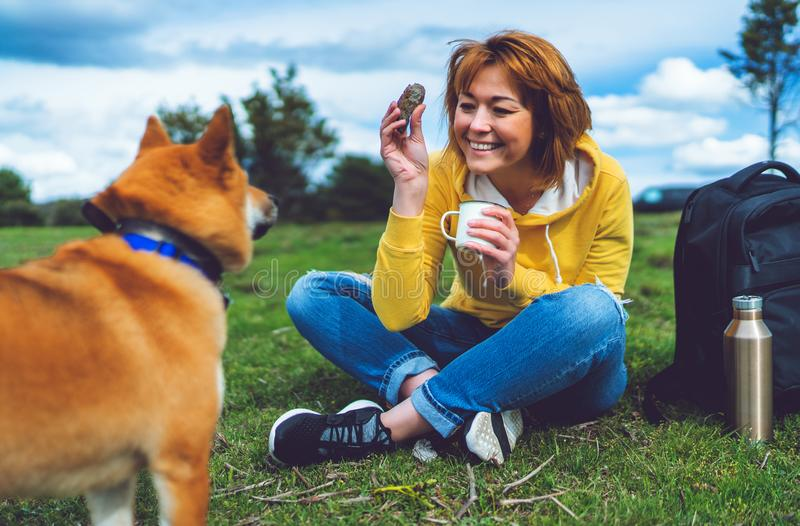 Happy girl with smile drink cup playing with red japanese dog shiba inu on green grass in the outdoors nature park royalty free stock image