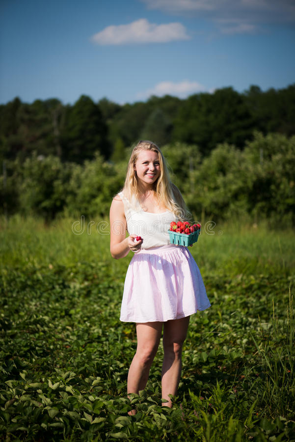 Happy Girl in Strawberry Field stock photos