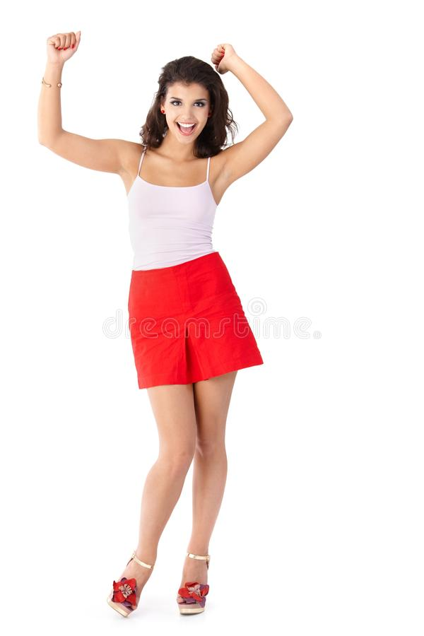 Download Happy girl in summer dress stock photo. Image of background - 24455918