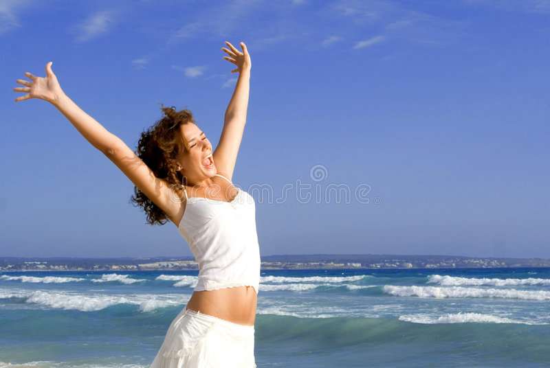 Happy girl on summer vacation stock image
