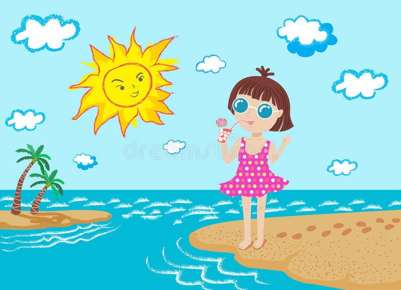 Happy girl and sun on the beach stock illustration
