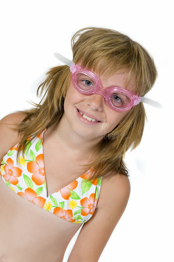 Happy girl in swimming goggles stock photos
