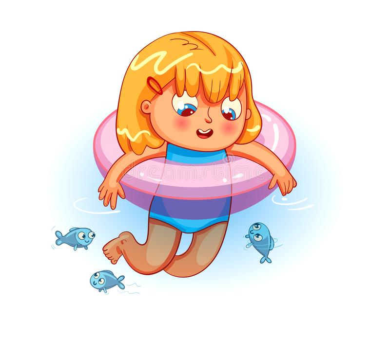 Happy girl swimming with lifebuoy in the sea. Funny cartoon colorful character. Vector illustration stock illustration
