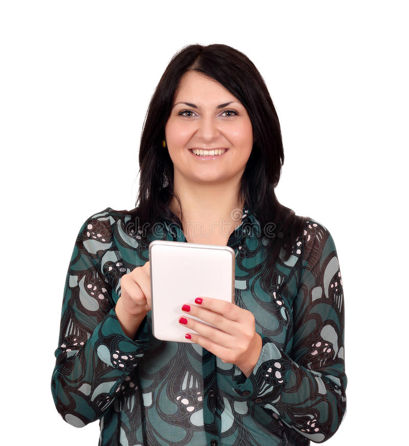 Download Happy Girl With Tablet Pc On White Stock Photo - Image of happy, computer: 34979712