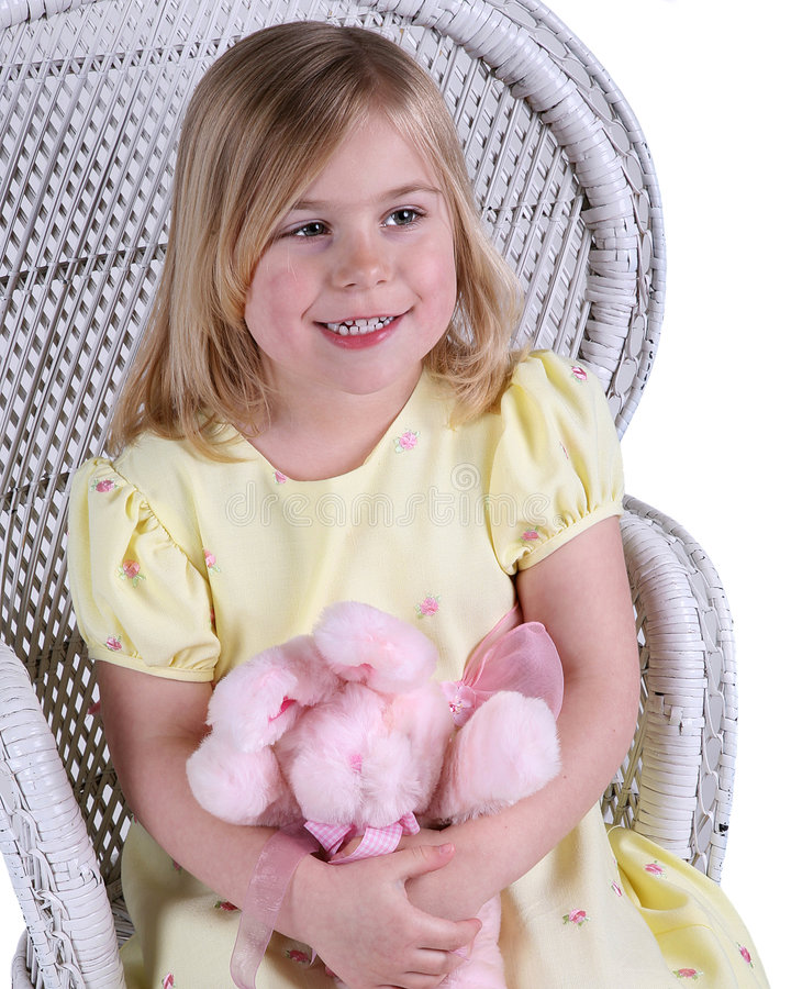 Happy girl with teddy bear royalty free stock photos