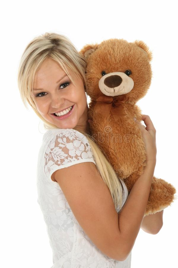 Download Happy Girl with Toy stock photo. Image of white, pretty - 22128086