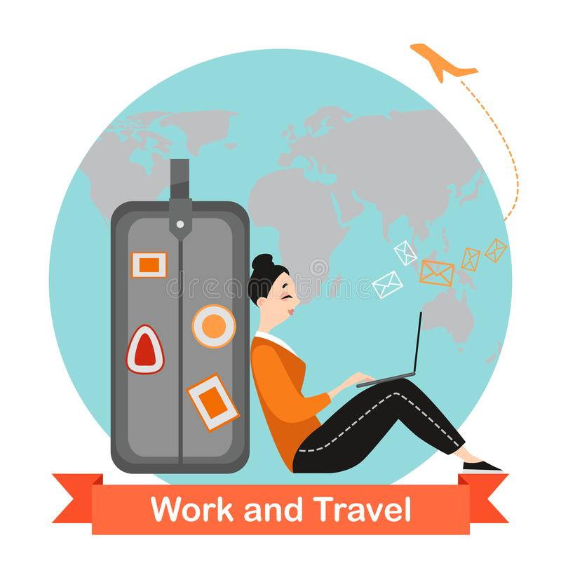 Happy girl is traveling and working online. Funny cartoon character stock illustration