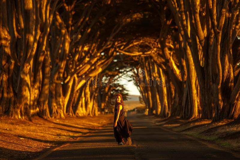 Happy girl in a tunnel with trees stock photo