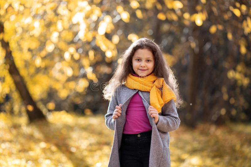 A happy girl is walking in the autumn forest stock image