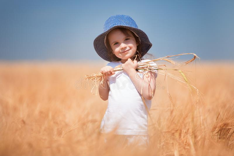 Happy girl walking in golden wheat, enjoying the life in the field. Nature beauty, blue sky and field of wheat. Family outdoor royalty free stock photography