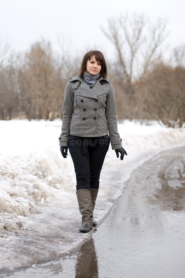 Happy girl walking outdoor royalty free stock photos