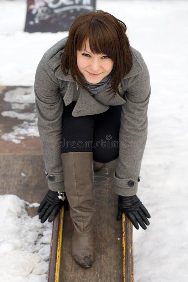 Happy girl walking outdoor stock photos