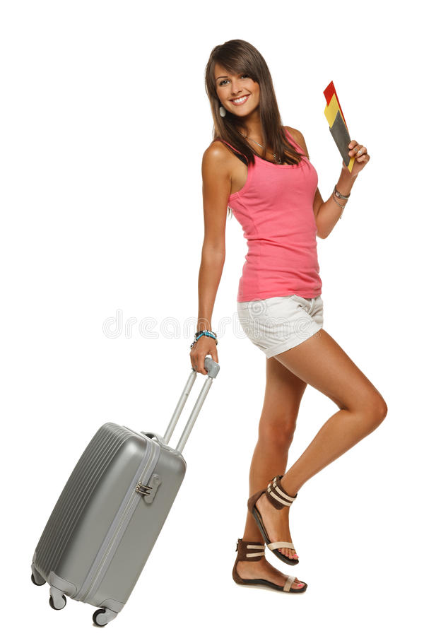 Download Happy Girl Walking With Travel Bag Stock Image - Image: 25689683