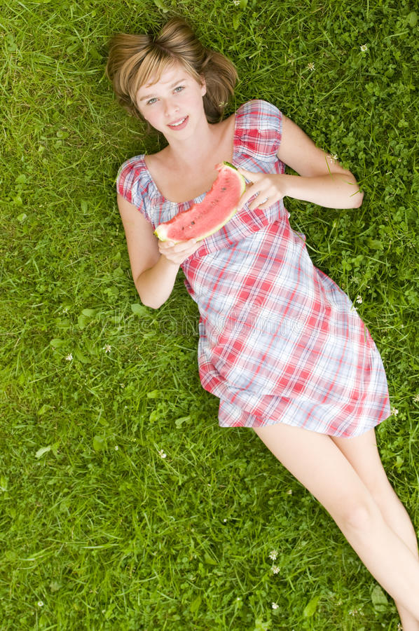 Download Happy girl with watermelon stock photo. Image of pretty - 9933396