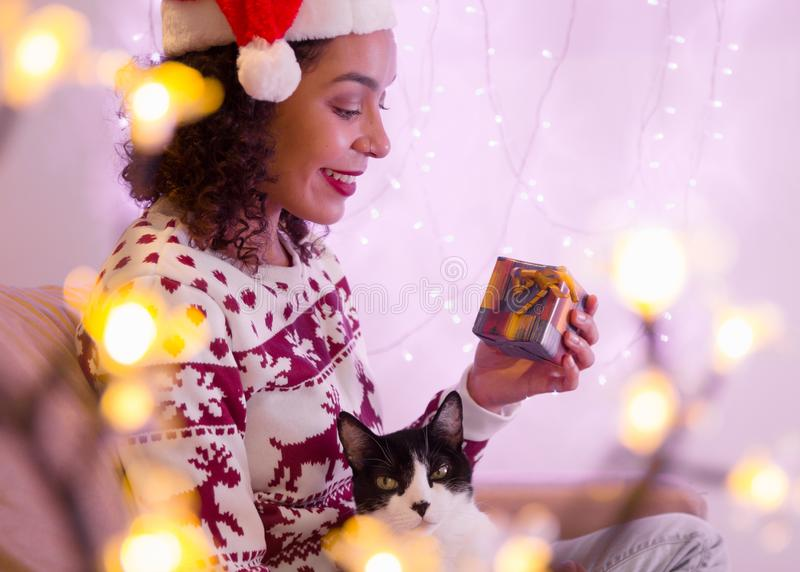 Happy girl wearing christmas hat and seasonal sweater with adorable pet cat holding gift box at home. festive decor with lights. Happy Brazilian girl wearing stock photography