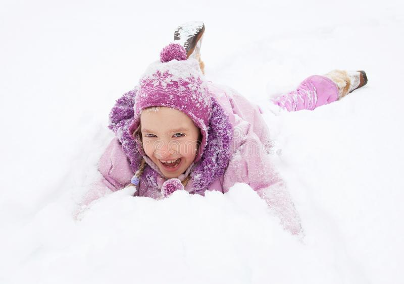 Happy girl in winter stock image