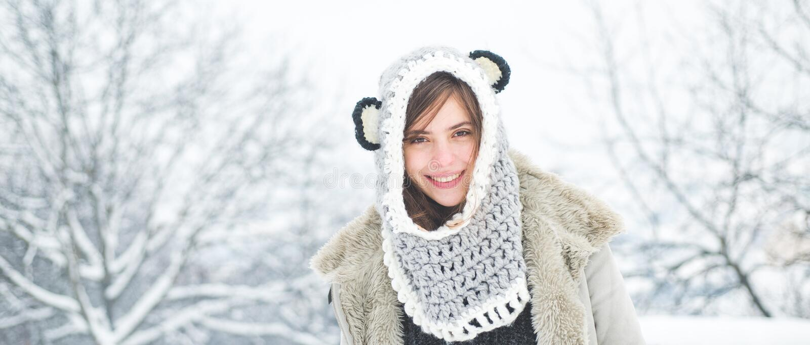 Happy girl winter portrait. Winter woman. Portrait of a young woman in snow. Beauty Winter Girl in frosty winter Park. stock images
