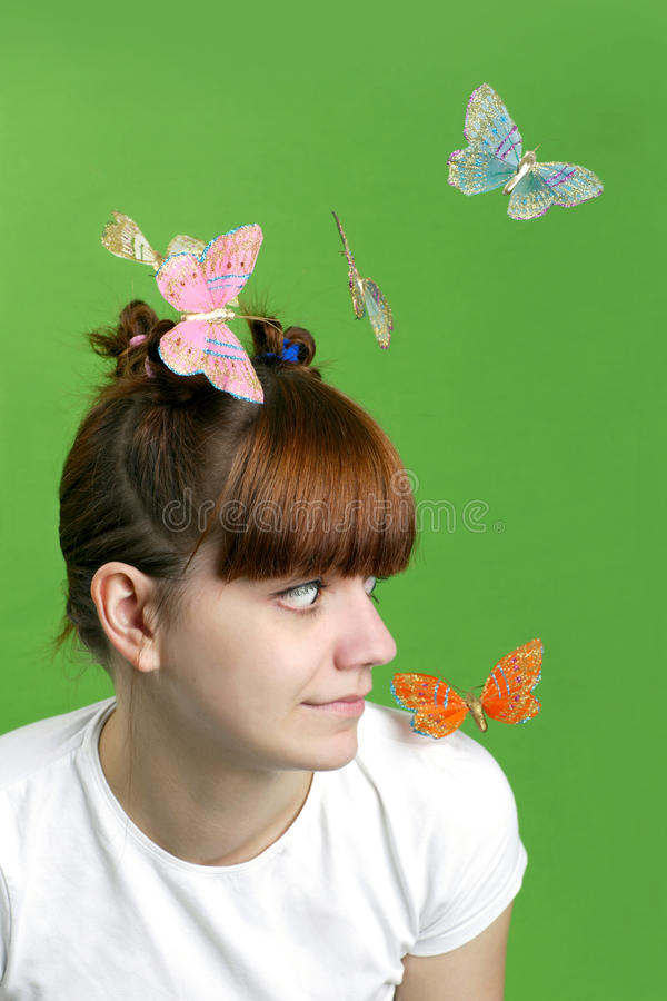 Free Happy Girl With Flying Butterflies Royalty Free Stock Images - 14071399