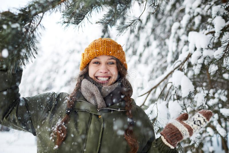 Happy Girl in Woods royalty free stock photography