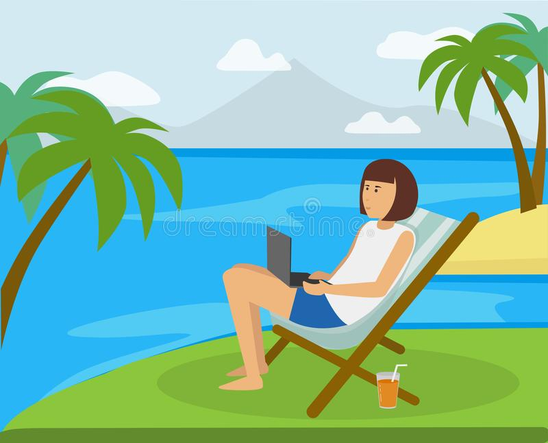 Happy girl working on the beach on the computer in the ideal paradise like island location. Work anywhere you like concept illustration vector illustration