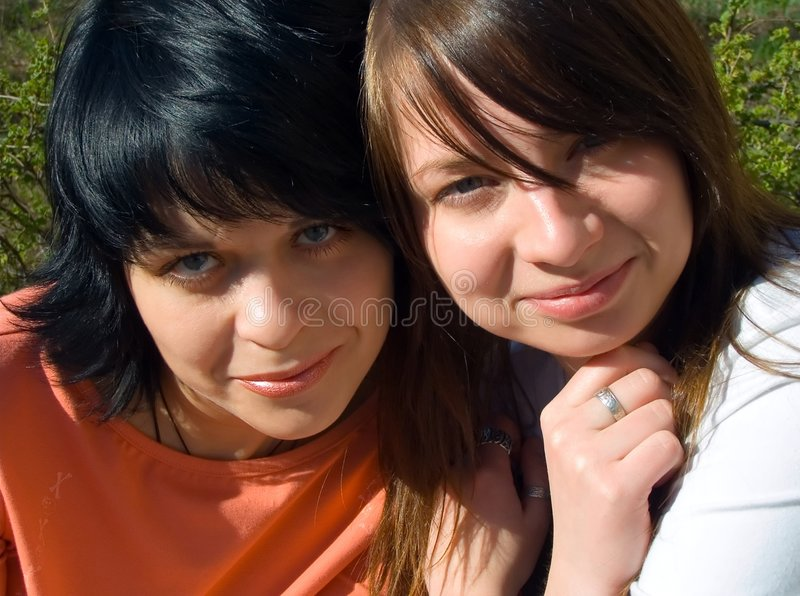 Happy girlfriends royalty free stock photography