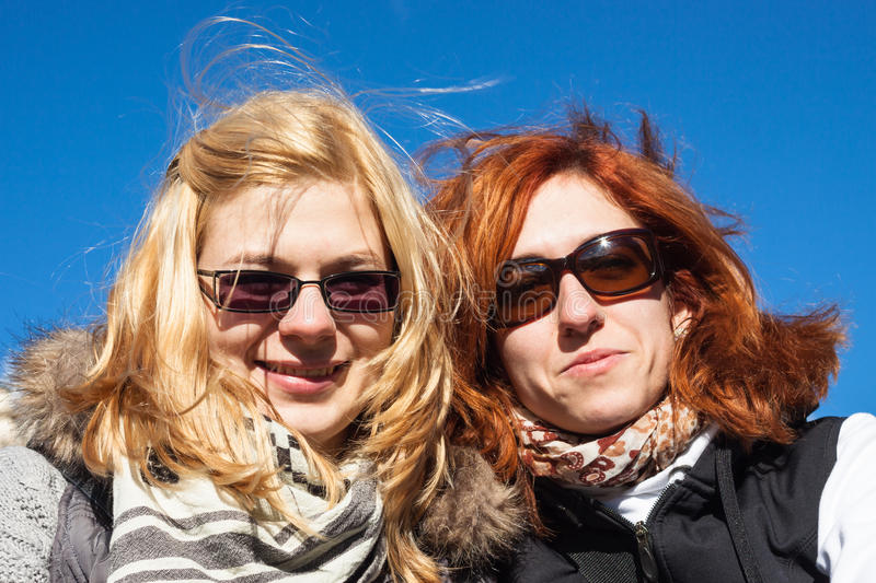 Happy girlfriends outdoors royalty free stock image