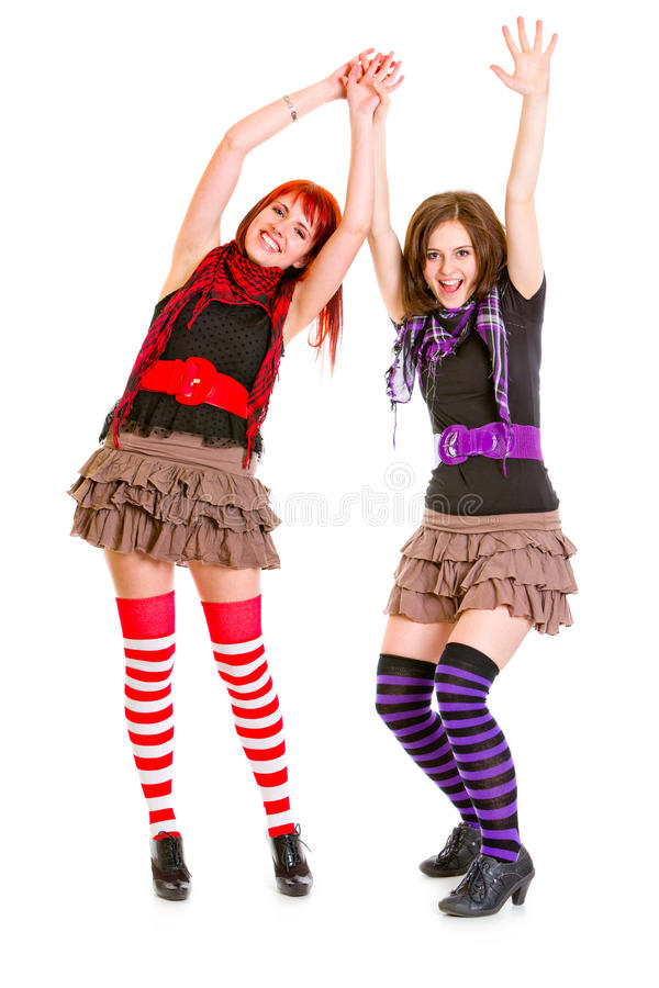 Download Happy Girlfriends Standing With Hands Raised Up Royalty Free Stock Photography - Image: 18521477