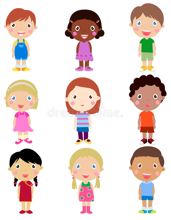 Download Happy girls and boys stock vector. Image of boys, colors - 27562438