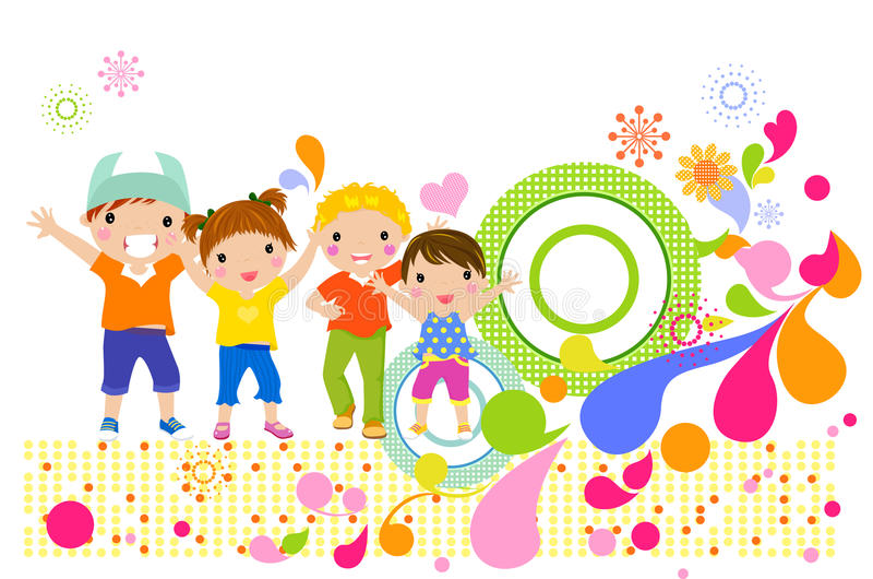 Happy girls and boys royalty free illustration