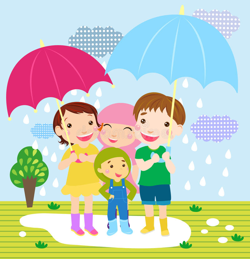 Happy Girls And Boys On Meadow In Rain Stock Photos