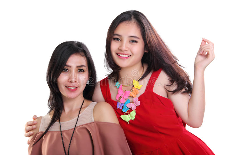 Happy girls in family portrait stock images