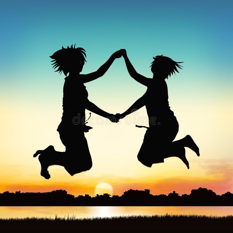 Happy girls are jumping. stock illustration