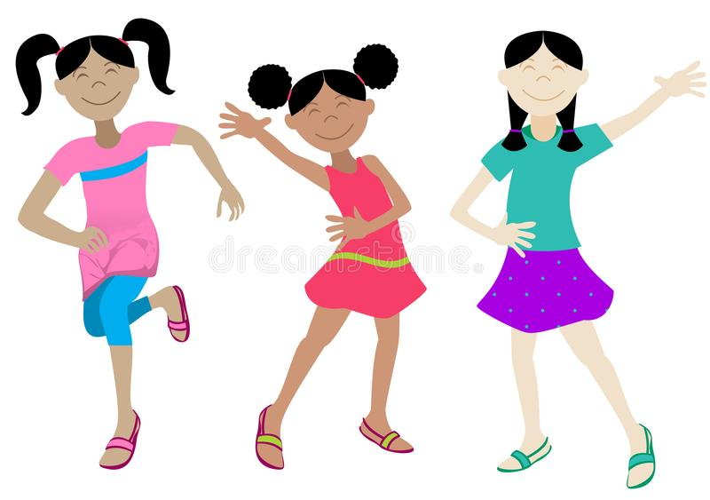 Happy Girls royalty free illustration