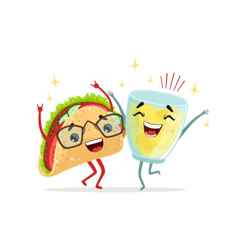Happy glass of lemonade and tacos characters jumping with hands up. Lunch time. Isolated flat vector for cafe logo, card royalty free illustration