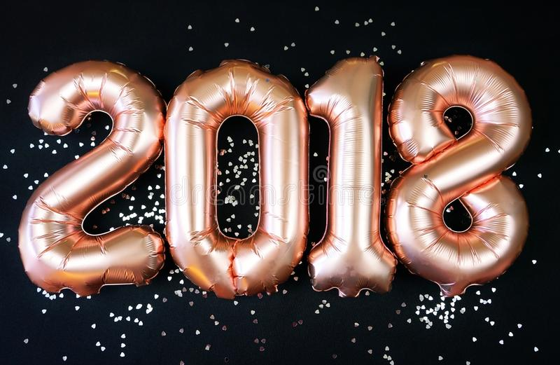 Happy 2018 gold New Year Balloons stock image