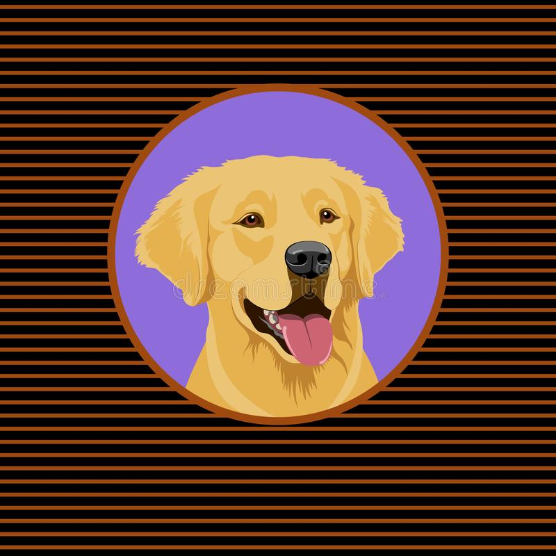 A happy Golden Labrador Retriever. Portrait of a dog. Graphic illustration of a happy golden Labrador Retriever. Portrait of a dog stock illustration