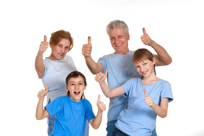 Happy good grandparents with grandchildren fooled royalty free stock photos