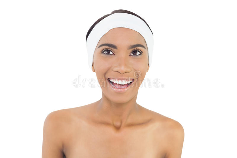 Happy gorgeous model wearing headband stock photos