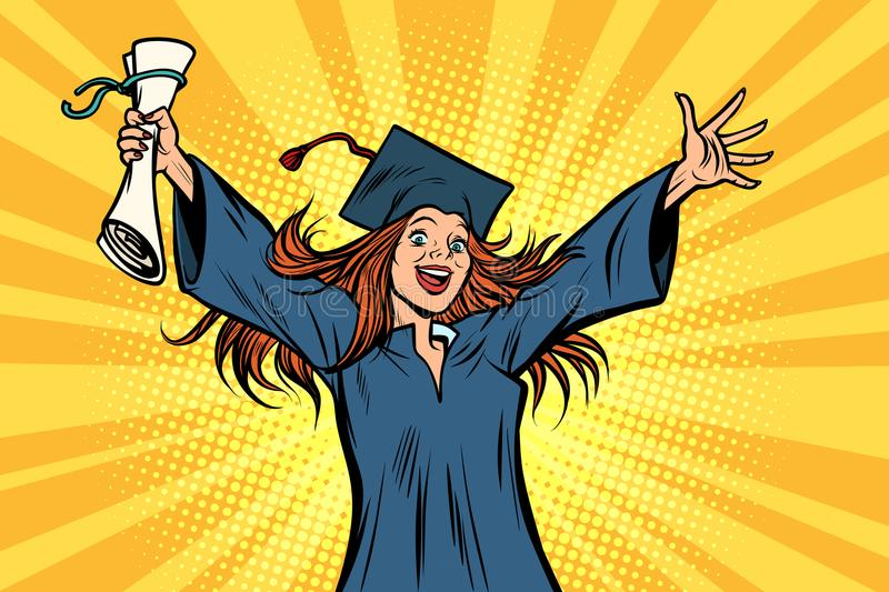 Happy graduate girl student of the College or University stock illustration