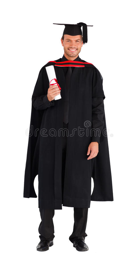 Happy graduate with his diploma stock image