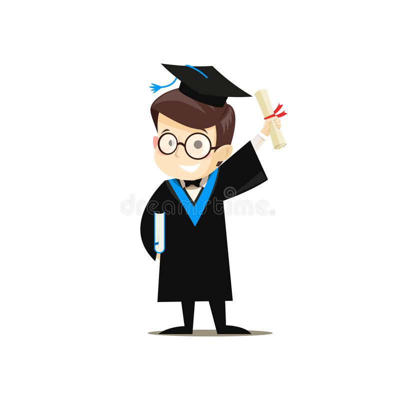 Happy graduate holding a book and diploma in his hands stock illustration