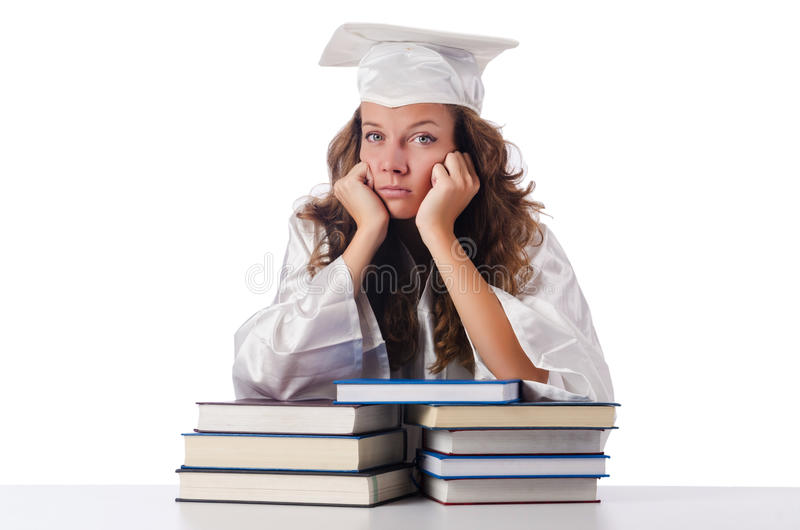 Happy Graduate With Lots Of Books Stock Images